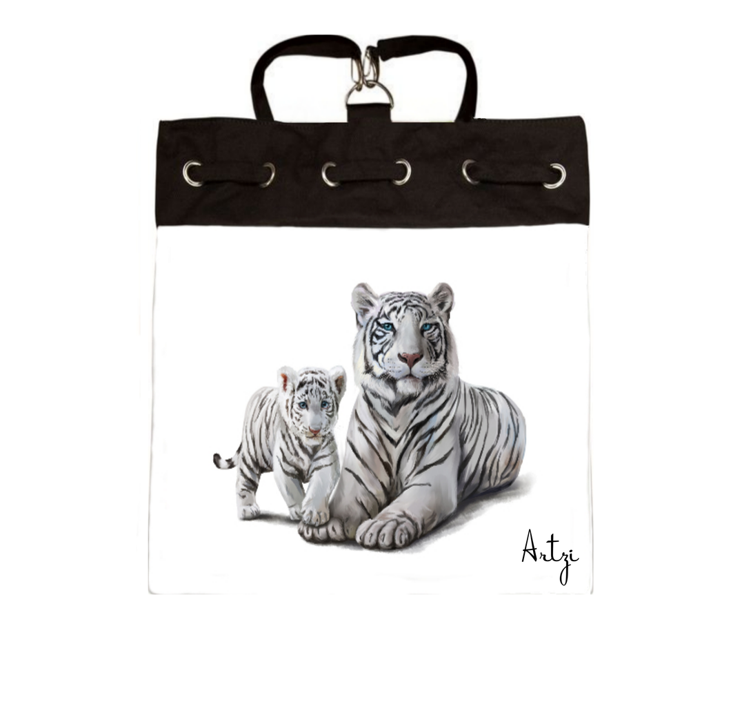 White Tigers Backpak - Artzi Prints