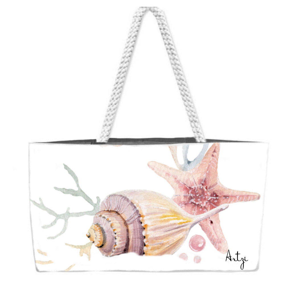 Pretty Shells Weekender Rope Tote - Artzi Prints