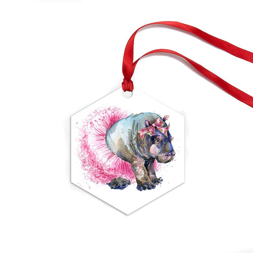 Fiona Hippo Ornament (Hex) - Artzi Prints