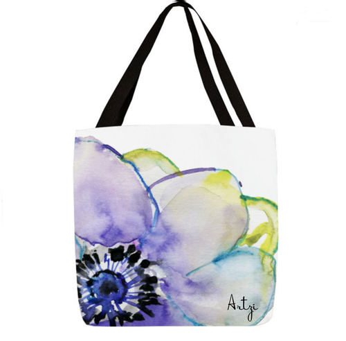 Blue Colored Flower Tote - Artzi Prints