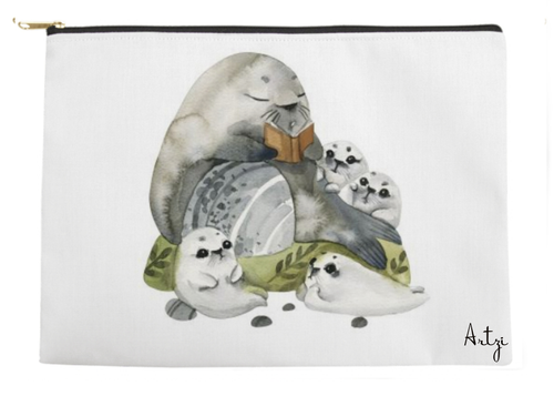 Sea Lion Family Pouch - Artzi Prints