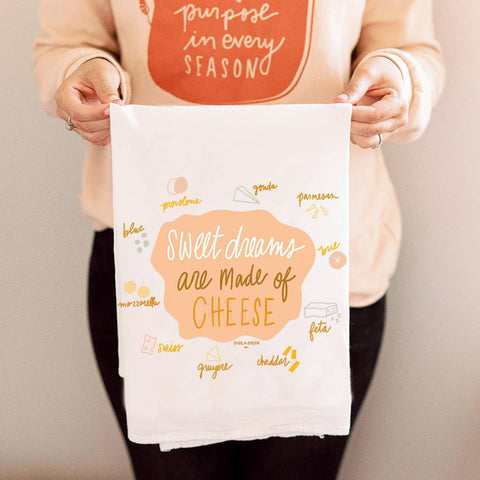 Sweet Dreams Are Made Of Cheese Kitchen Towel - Luxe & Bloom