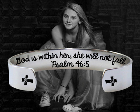 God is within her bracelet