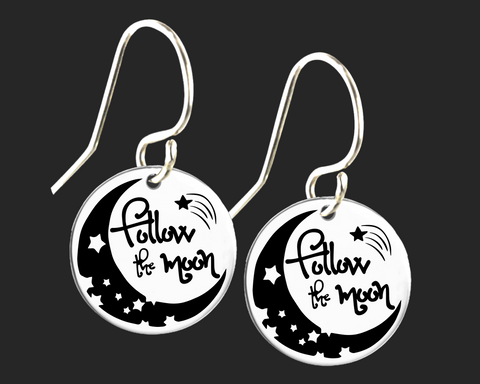 Follow the Moon Engraved Earrings | Korena Loves