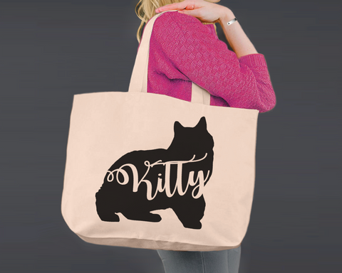 Manx Cat | Personalized Canvas Tote Bag