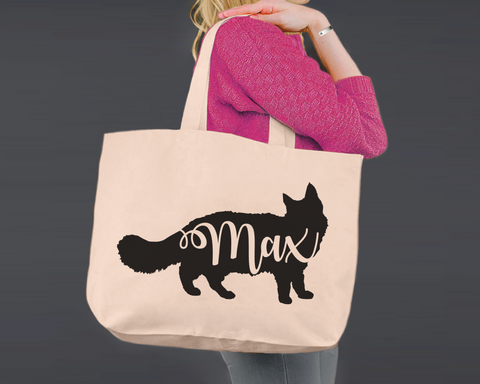 Maine Coon Cat | Personalized Canvas Tote Bag