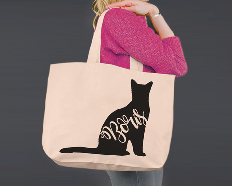 Russian Blue Cat | Personalized Canvas Tote Bag