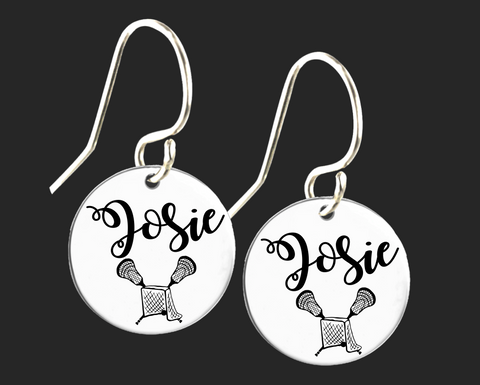 Personalized Lacrosse Earrings | Korena Loves