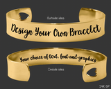 "1/2"" Gold Design Your Own Custom Personalized Cuff Bracelet"