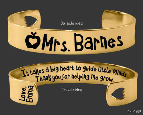 Gold Teacher Bracelet | It takes a big heart