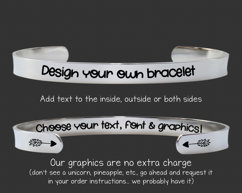 "1/4"" Design Your Own Custom Personalized Cuff Bracelet"