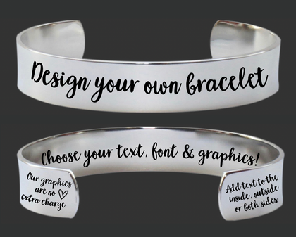 "1/2"" Design Your Own Custom Personalized Cuff Bracelet"