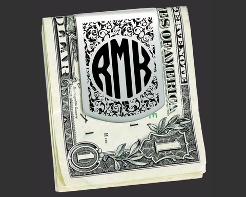 Floral Monogram Money Clip | Groomsmen Gifts