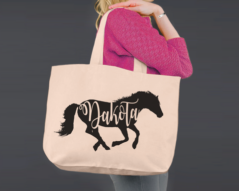 Horse Personalized Canvas Tote Bag