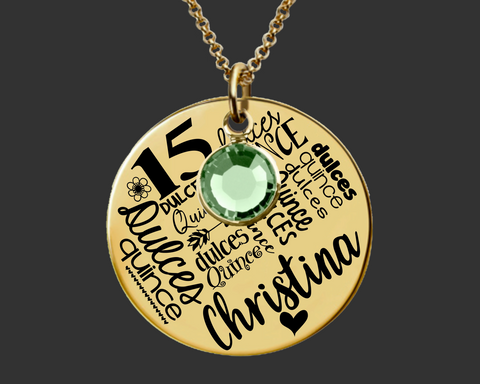 Gold Quinceanera Necklace | Quinceanera Gift | Sweet Fifteen
