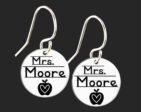 Personalized Teacher Earrings | Korena Loves