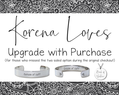 Add Text to Back Upgrade:  Only Purchase if Directed by Korena Loves