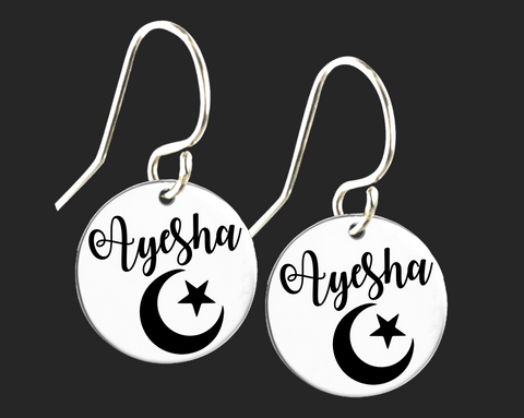Personalized Crescent Moon and Star Earrings | Korena Loves