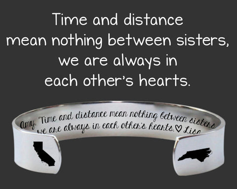 Time and Distance Personalized Sister Bracelet