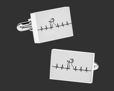Deer Hunting EKG Cuff Links
