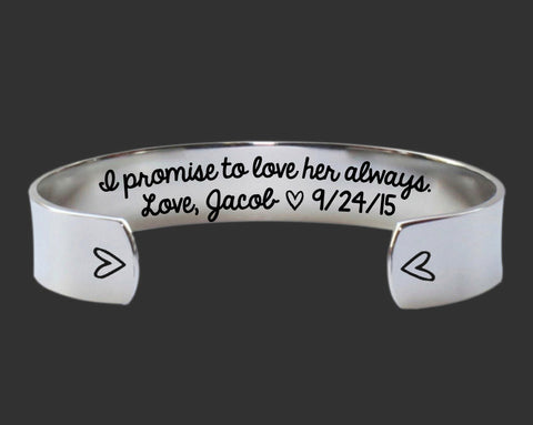 I Promise to Love Her Always Bracelet | Mother of the Bride Gift