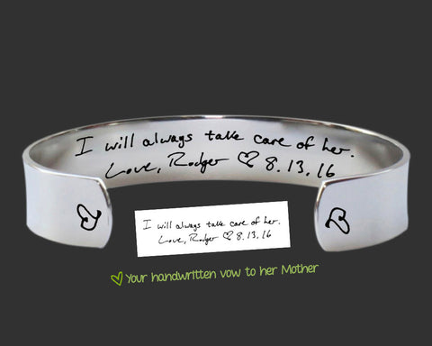 Mother of the Bride Handwriting Bracelet