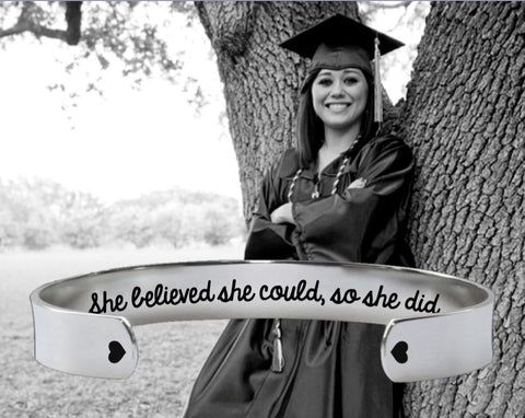 She Believed She Could, So She Did Bracelet | Graduation Gift