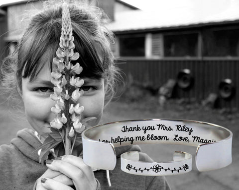 Thank You For Helping Me Bloom Bracelet | Teacher Gifts