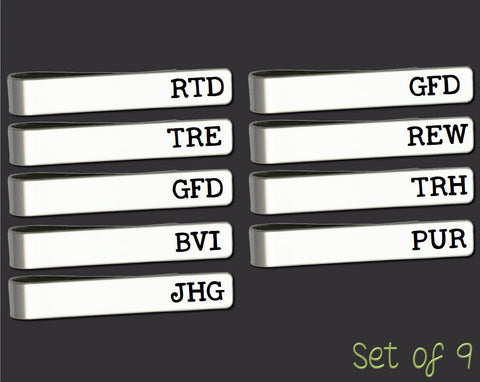 Set of 9 Personalized Tie Bars | Groomsman Gifts