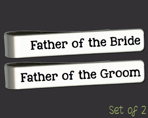 Father of the Bride Gift | Father of the Groom Gift | Wedding Gift | Custom Personalized Tie Bar Set Gift Ideas