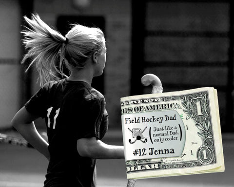Field Hockey Dad Personalized Money Clip