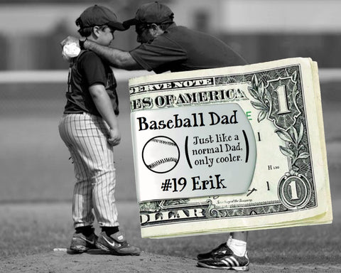 Baseball Dad Personalized Money Clip | Gift for Dad