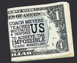 Wresting Coach Personalized Money Clip