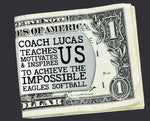 Softball Coach Personalized Money Clip | Coach Gift