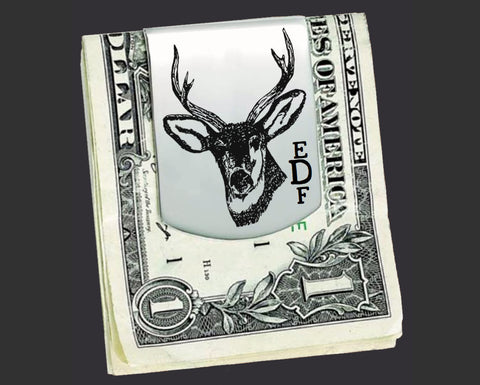 Deer Stag Personalized Money Clip