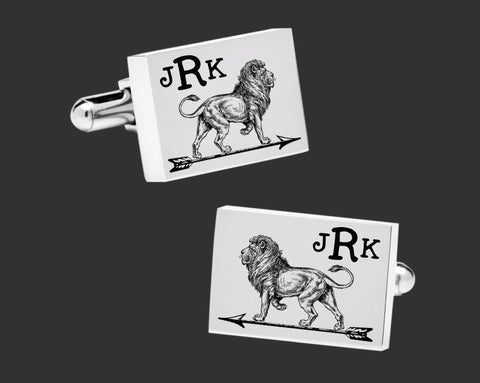 Lion Monogram Cuff Links | Leo Zodiac Gift