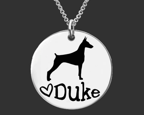Doberman Pinscher Personalized Necklace