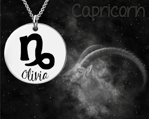Capricorn Zodiac Personalized Necklace
