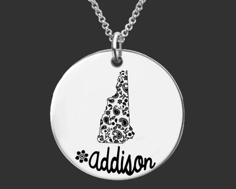 New Hampshire Personalized Necklace | New Hampshire State