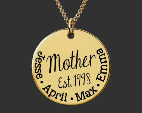 Gold Personalized Mother's Necklace