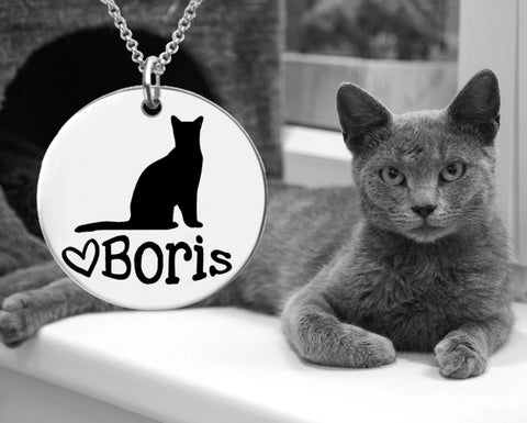 Russian Blue Cat Personalized Necklace