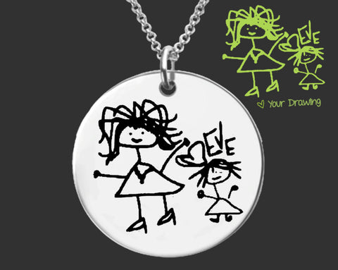 Your Child's Art Custom Drawing Necklace | Gift for Mom