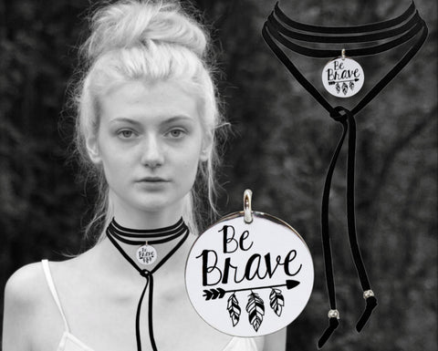 Be Brave Leather Choker
