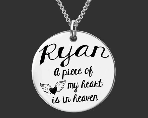 My Heart Is In Heaven Personalized Memory Necklace