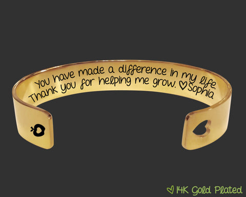 You Have Made a Difference Gold Bracelet | Teacher Gift