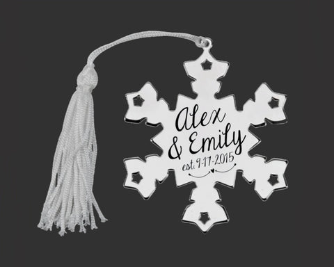 Couples First Christmas Personalized Snowflake Ornament