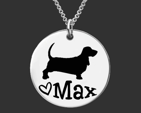 Basset Hound Dog Personalized Necklace