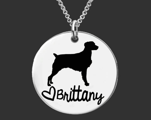 Brittany Dog Personalized Necklace