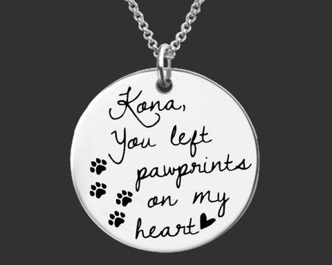 You Left Paw Prints on My Heart Necklace | Pet Memory Jewelry
