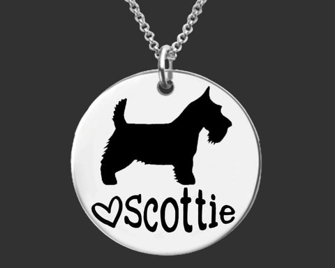 Scottish Terrier Dog Personalized Necklace